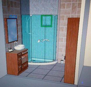 Diseño 3D baño ducha esquinera