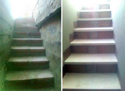 Escalera con terminación en piedra artificial y azulejo