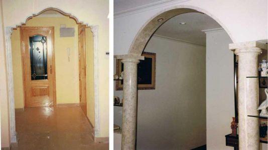 Arcos decorativos de escayola imitación mármol